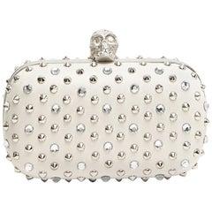 Alexander McQueen Stud & Crystal Skull-Clasp Clutch Bag