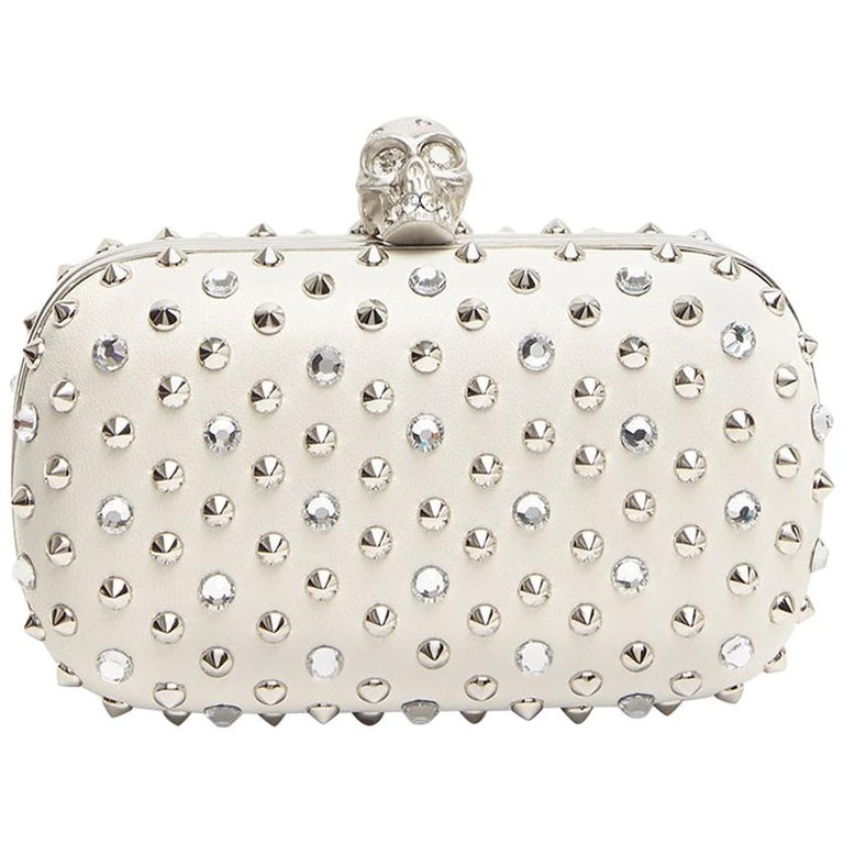 Alexander McQueen Stud & Crystal Skull-Clasp Clutch Bag For Sale