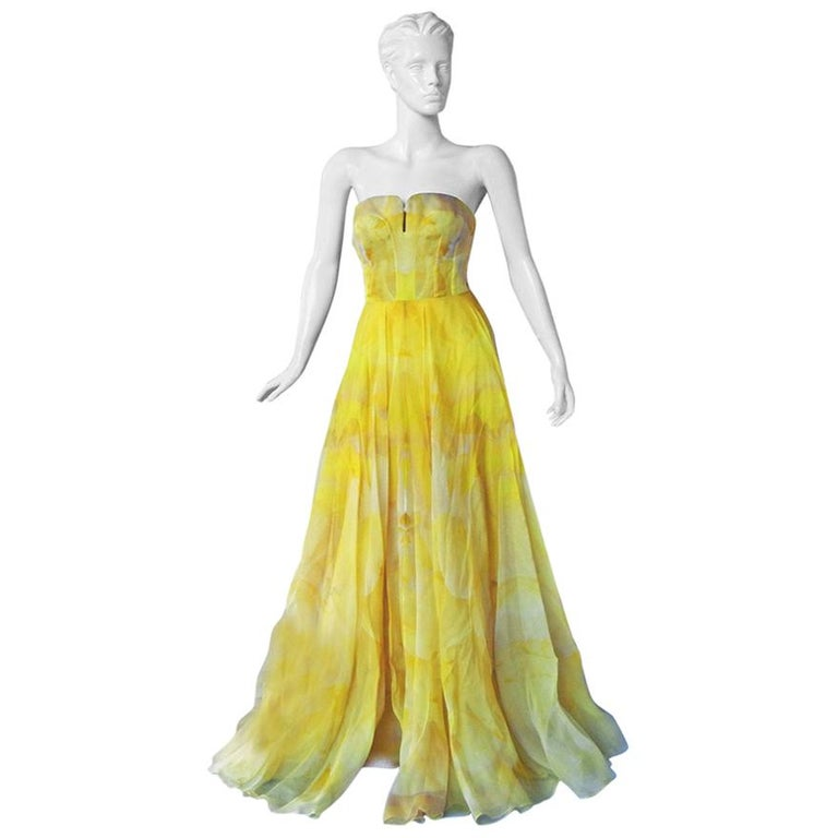Alexander McQueen Stunning Poppy Print Daffodil Gown  NWT For Sale