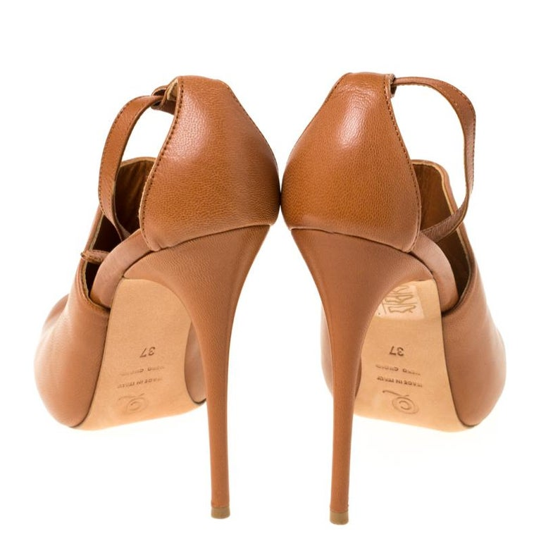 Orange Alexander McQueen Tan Leather Mules Ankle Strap Sandals Size 37 For Sale