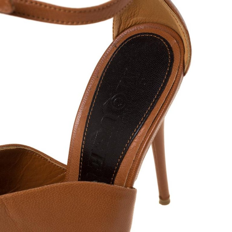 Alexander McQueen Tan Leather Mules Ankle Strap Sandals Size 37 For Sale 1