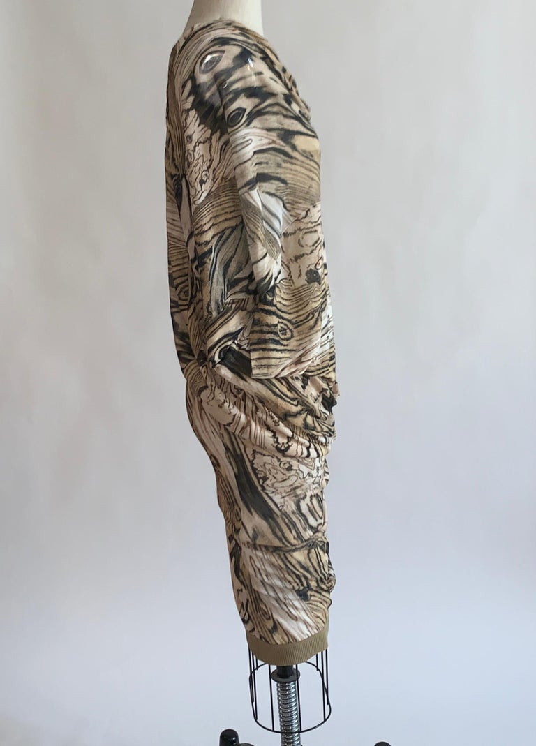 Brown Alexander McQueen Tan Woodgrain Print Knit Asymmetric Drape Dress 2009 For Sale