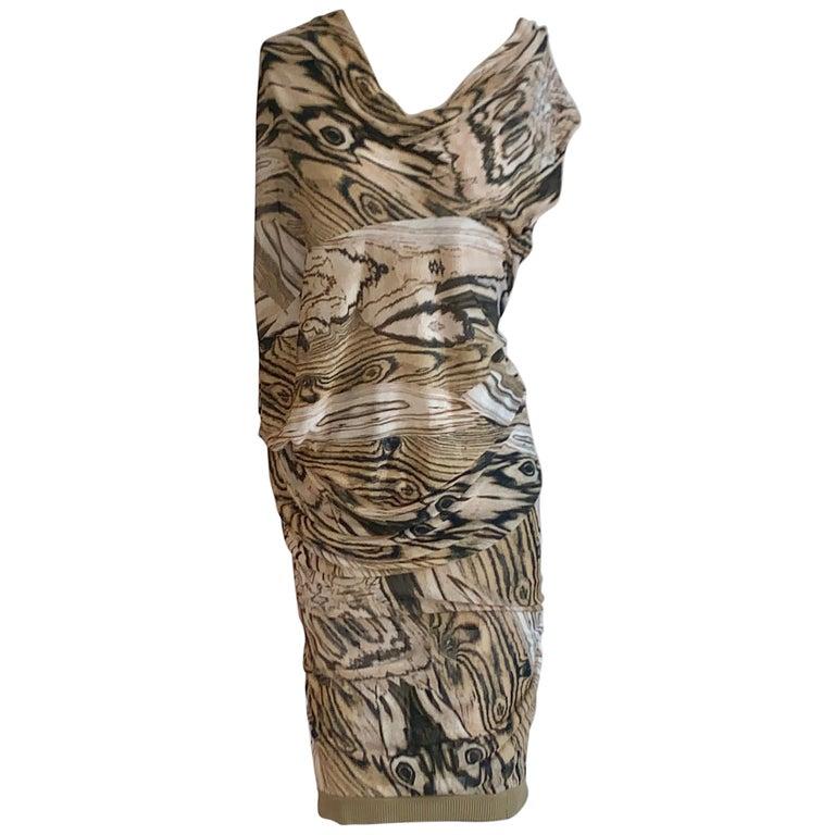 Alexander McQueen Tan Woodgrain Print Knit Asymmetric Drape Dress 2009 For Sale