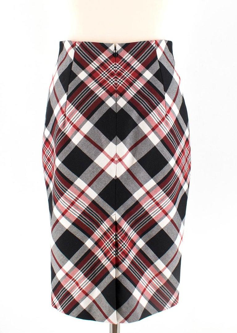 Gray Alexander McQueen Tartan Wool Pencil Skirt Size 40 For Sale