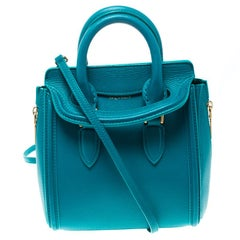 Alexander McQueen Teal Leather Mini Heroine Top Handle Shoulder Bag