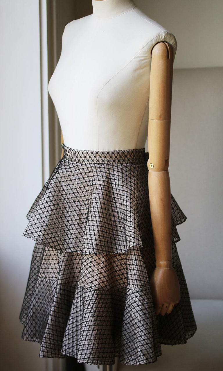 Gray Alexander McQueen Tiered Lace Mini Skirt For Sale