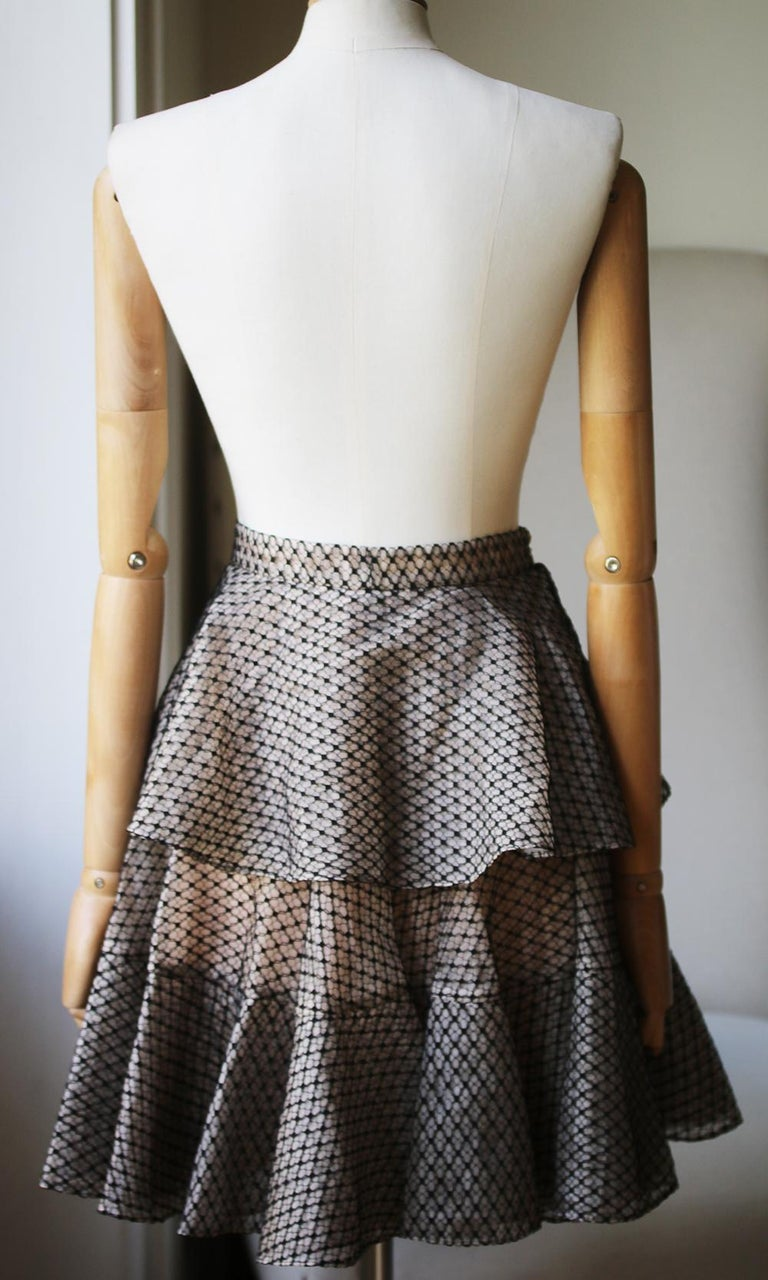 Alexander McQueen Tiered Lace Mini Skirt In New Condition For Sale In London, GB