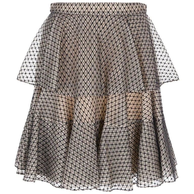 Alexander McQueen Tiered Lace Mini Skirt For Sale