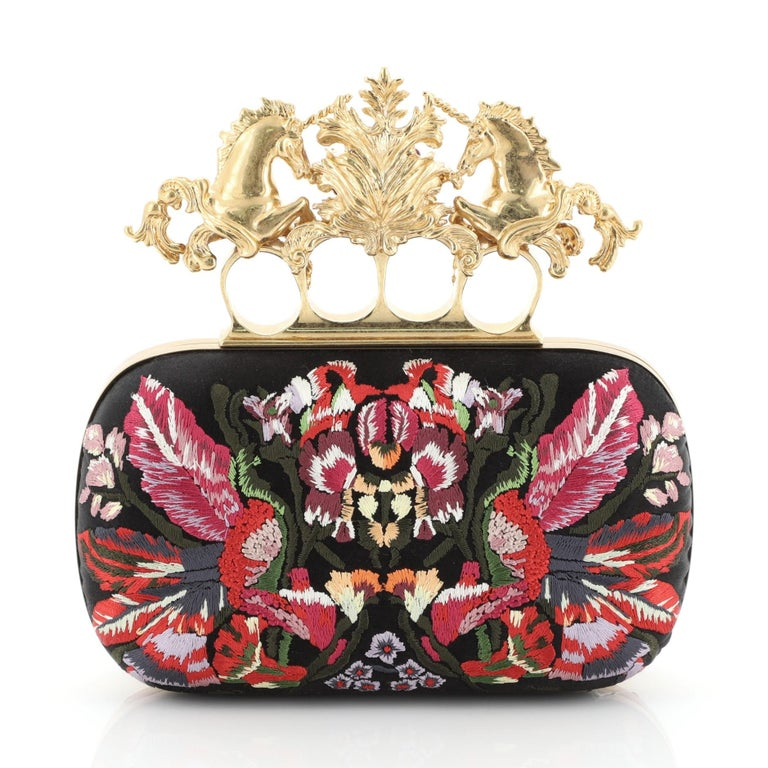 Beige Alexander McQueen Unicorn Skull Knuckle Box Clutch Embroidered Mesh Small