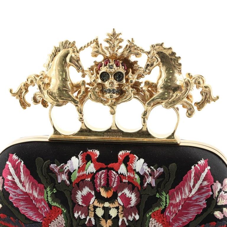 Women's or Men's Alexander McQueen Unicorn Skull Knuckle Box Clutch Embroidered Mesh Small