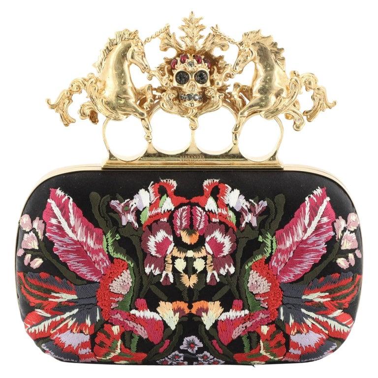 Alexander McQueen Unicorn Skull Knuckle Box Clutch Embroidered Mesh Small