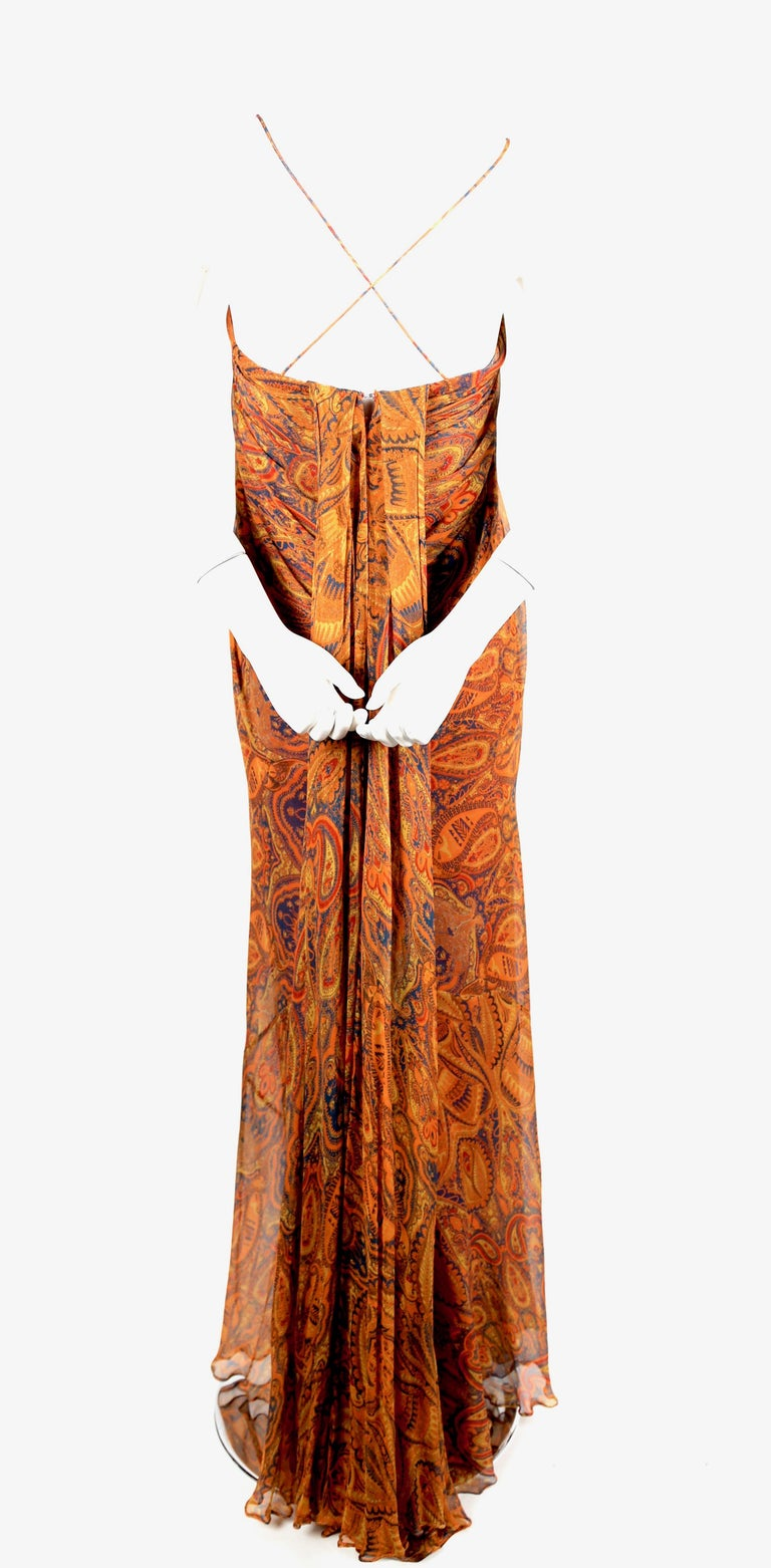 Women's or Men's Alexander McQueen Unworn paisley silk chiffon strapless dress, 2009 For Sale