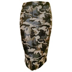 Alexander McQueen Vintage 1990's Quilted Camouflage Fitted Skirt
