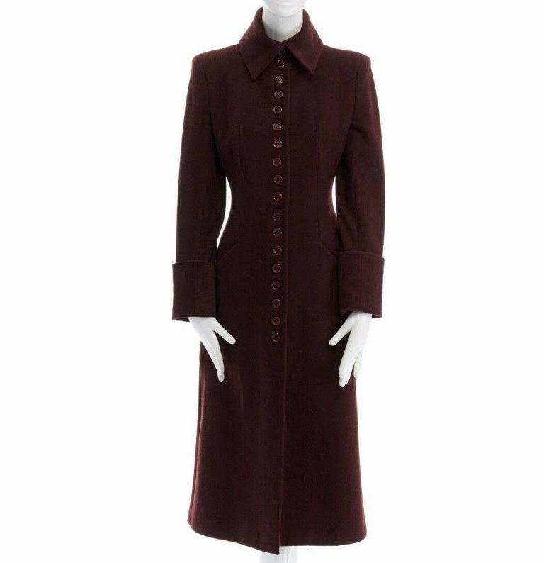 ALEXANDER MCQUEEN VINTAGE FROM THE FALL WINTER 1998 'JOAN' COLLECTION BURGUNGY BLOOD RED • OVERSIZED COLLAR • BUTTON FRONT CLOSURE • SLANTED POCKETS AT FRONT • CUFFED SLEEVES • STRONG PADDED SHOULDERS • SINGLE BACK VENT • FULLY LINED IN BLACK