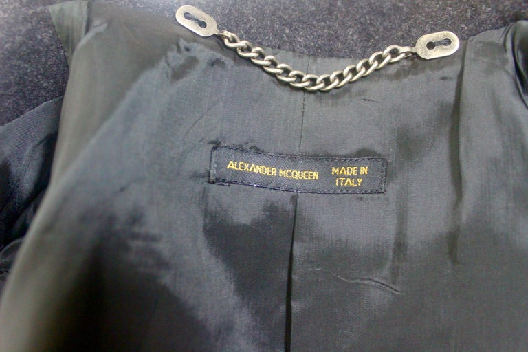 Alexander McQueen Vintage Black Wool and Cashmere Jacket For Sale 9