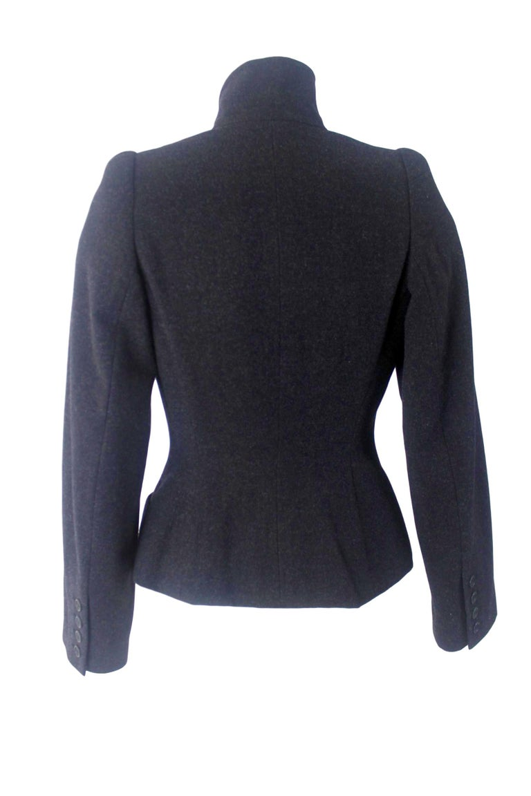 Alexander McQueen Vintage Black Wool and Cashmere Jacket In Excellent Condition For Sale In Bath, GB