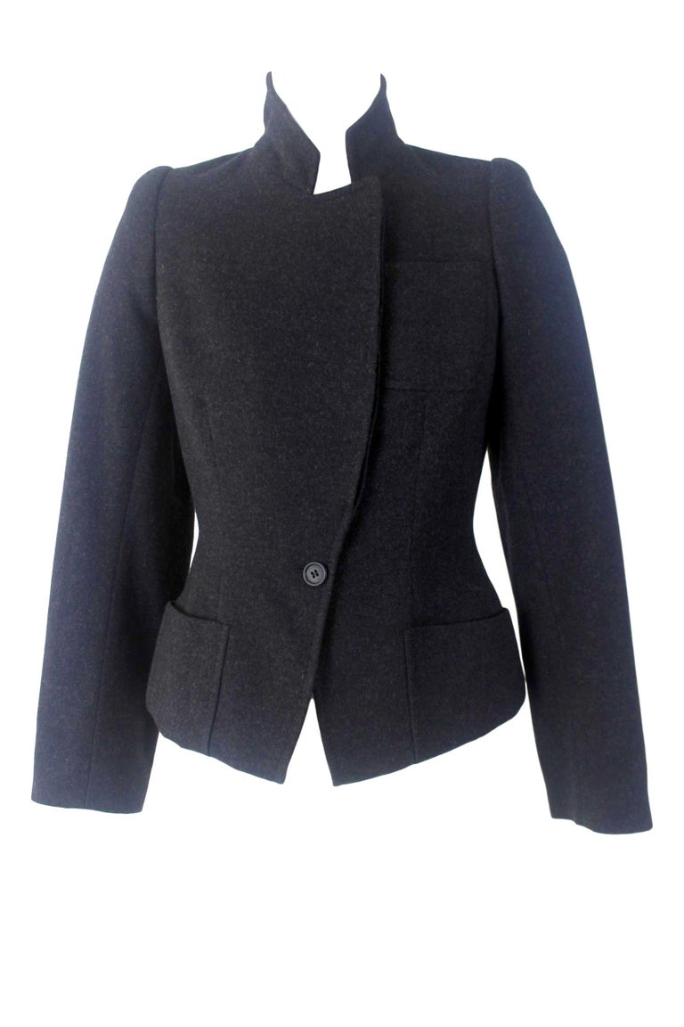 Women's Alexander McQueen Vintage Black Wool and Cashmere Jacket For Sale
