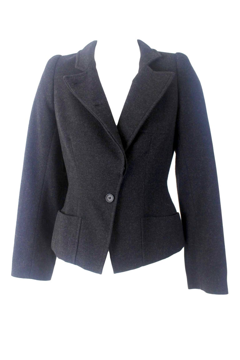 Alexander McQueen Vintage Black Wool and Cashmere Jacket For Sale 1