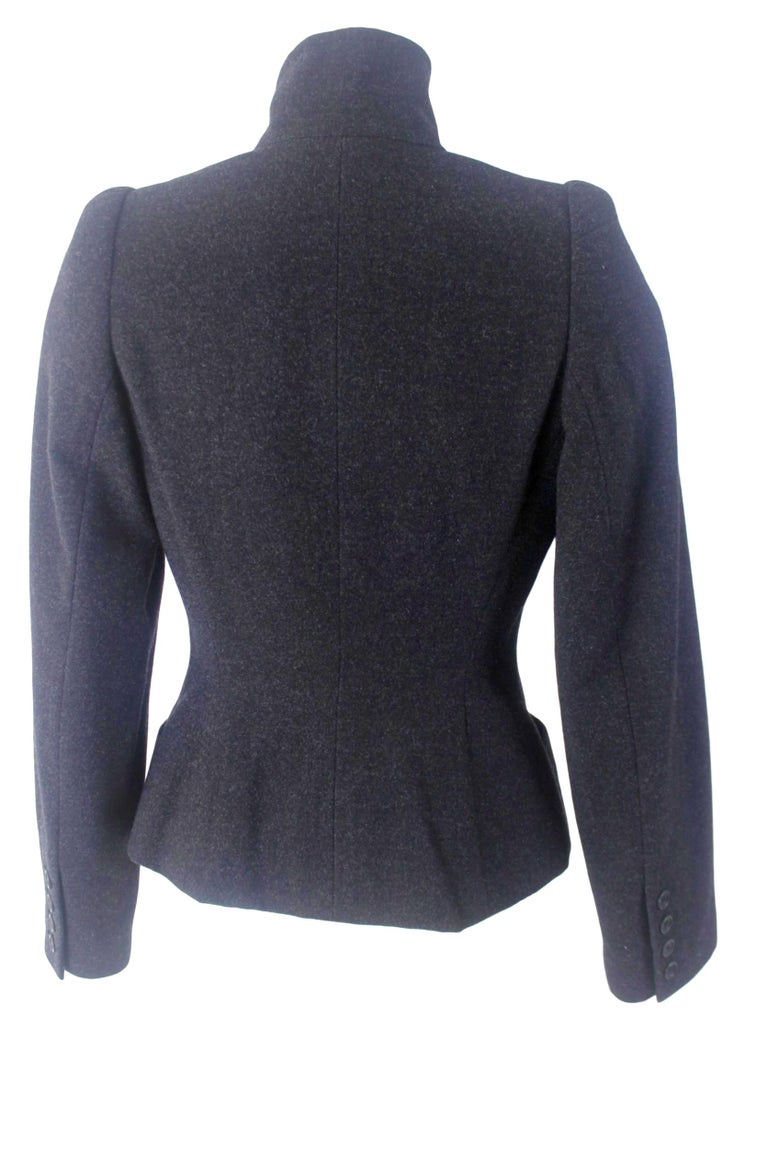 Alexander McQueen Vintage Black Wool and Cashmere Jacket For Sale 2