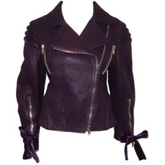 Alexander McQueen Violet Pebble Leather Multi Zippered Moto Jacket 46 EU