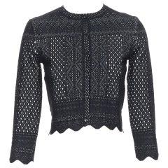 ALEXANDER MCQUEEN viscose silk black white jacquard knit scalloped cardigan XXS