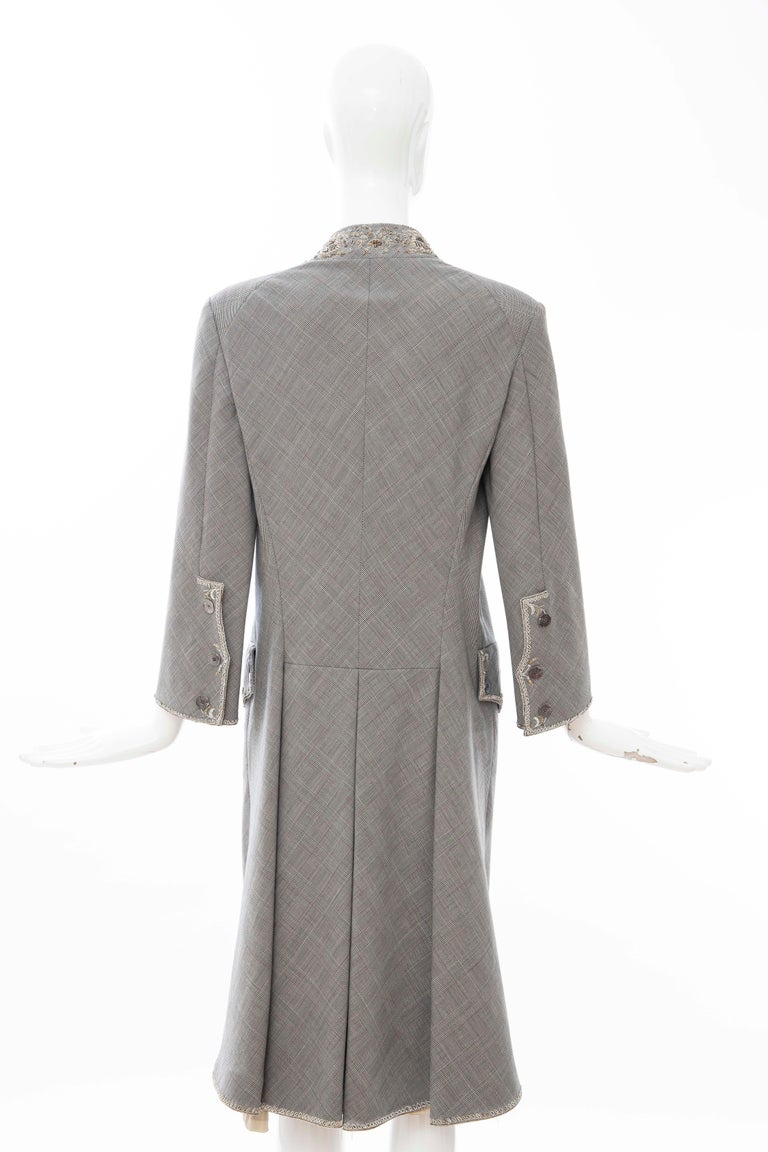 Alexander McQueen Wessex Glen Plaid Bullion Wire Embroidered Coat, Spring 2002 For Sale 6