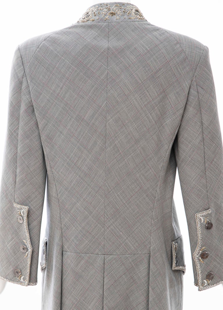 Alexander McQueen Wessex Glen Plaid Bullion Wire Embroidered Coat, Spring 2002 For Sale 7