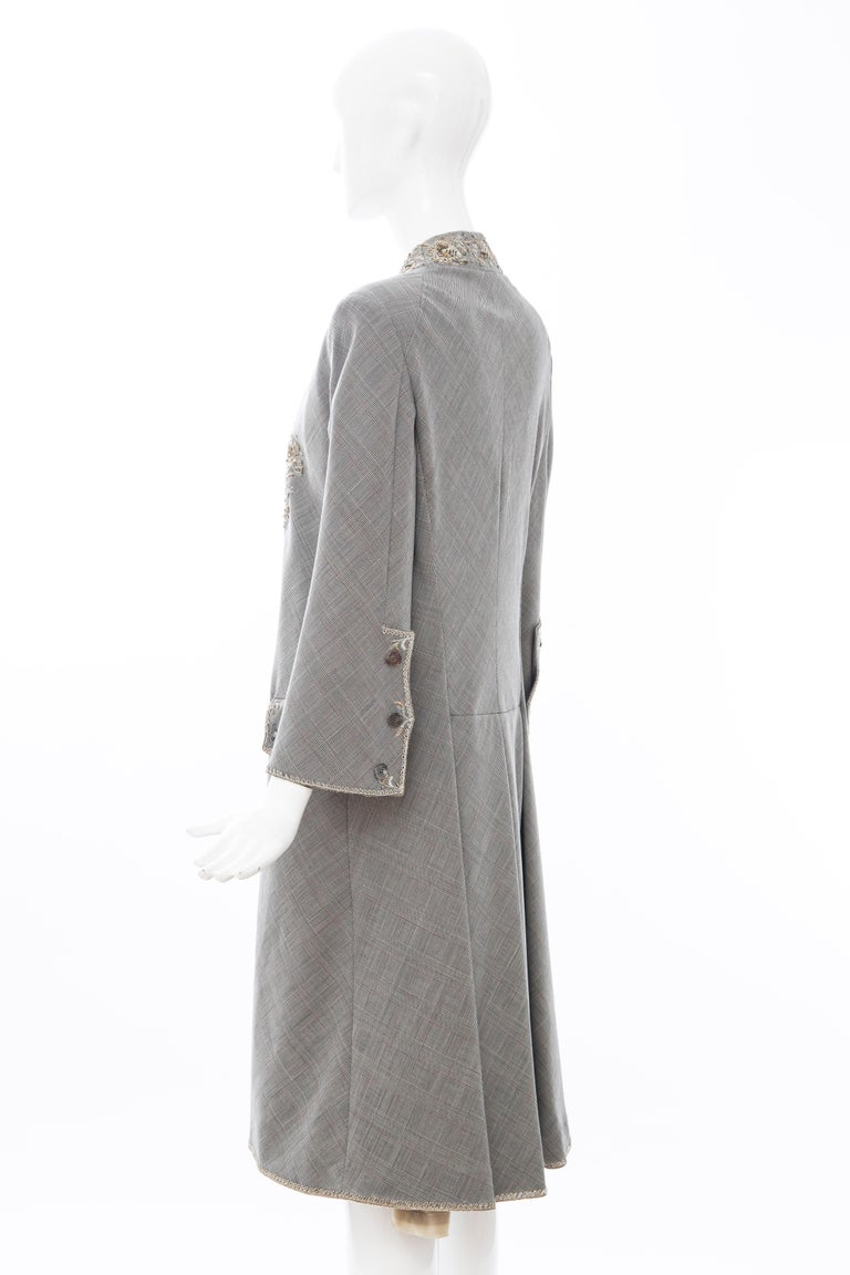 Alexander McQueen Wessex Glen Plaid Bullion Wire Embroidered Coat, Spring 2002 For Sale 8