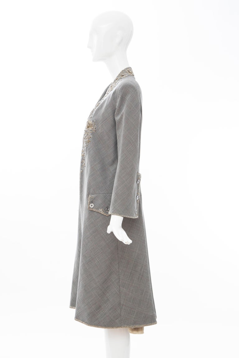 Alexander McQueen Wessex Glen Plaid Bullion Wire Embroidered Coat, Spring 2002 For Sale 9