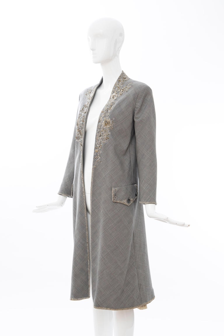 Alexander McQueen Wessex Glen Plaid Bullion Wire Embroidered Coat, Spring 2002 For Sale 10