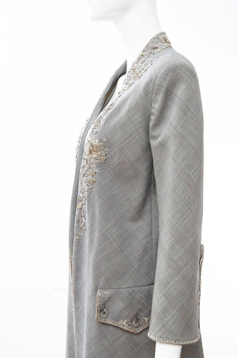 Alexander McQueen Wessex Glen Plaid Bullion Wire Embroidered Coat, Spring 2002 For Sale 11