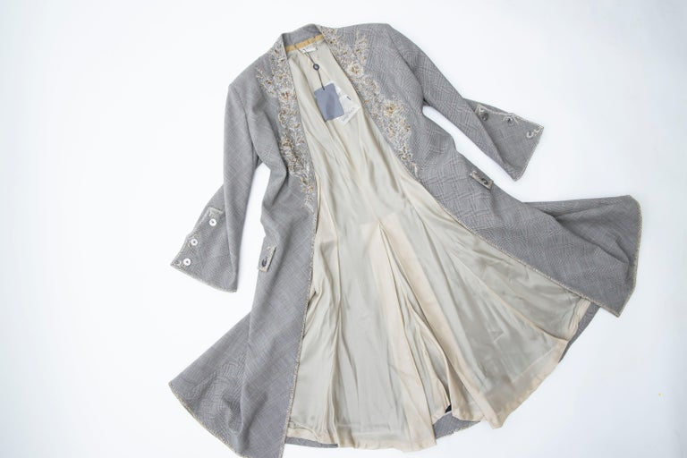 Alexander McQueen Wessex Glen Plaid Bullion Wire Embroidered Coat, Spring 2002 For Sale 12