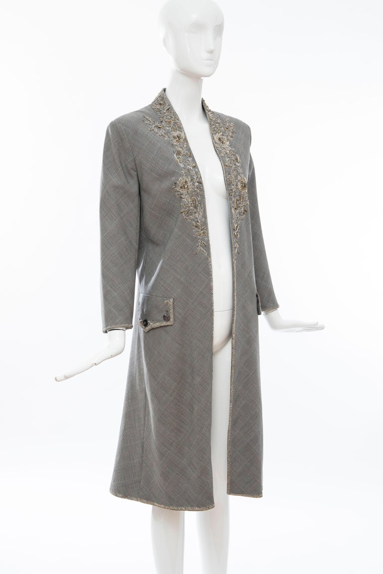 Women's Alexander McQueen Wessex Glen Plaid Bullion Wire Embroidered Coat, Spring 2002 For Sale