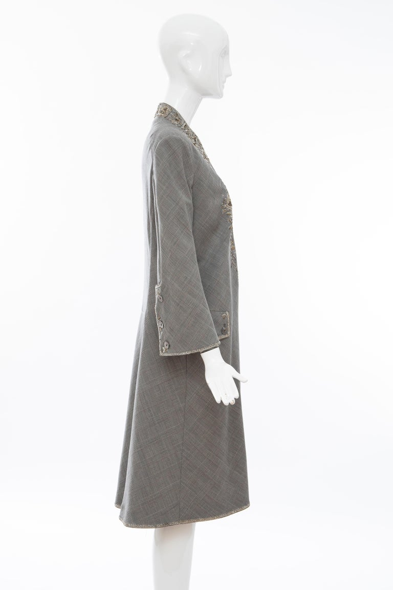 Alexander McQueen Wessex Glen Plaid Bullion Wire Embroidered Coat, Spring 2002 For Sale 1