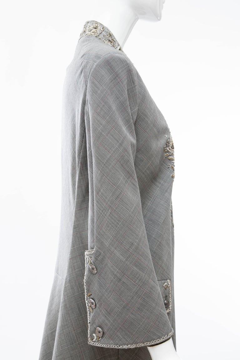 Alexander McQueen Wessex Glen Plaid Bullion Wire Embroidered Coat, Spring 2002 For Sale 2