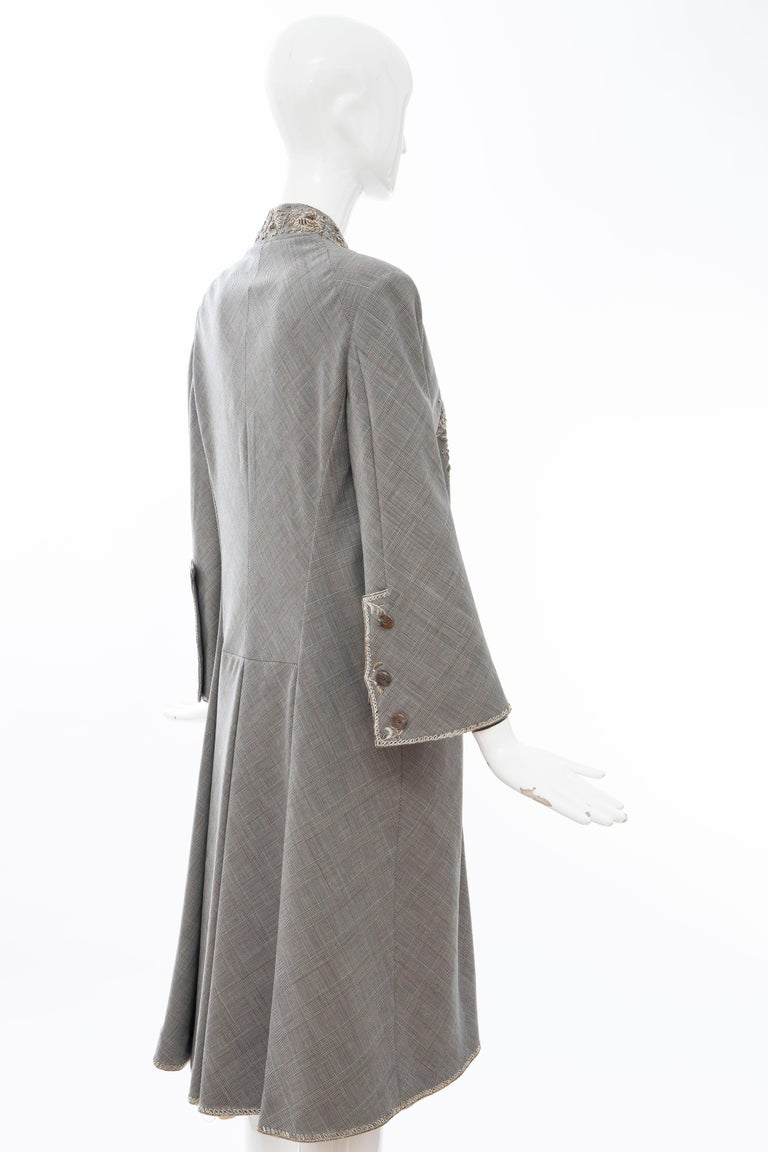 Alexander McQueen Wessex Glen Plaid Bullion Wire Embroidered Coat, Spring 2002 For Sale 3