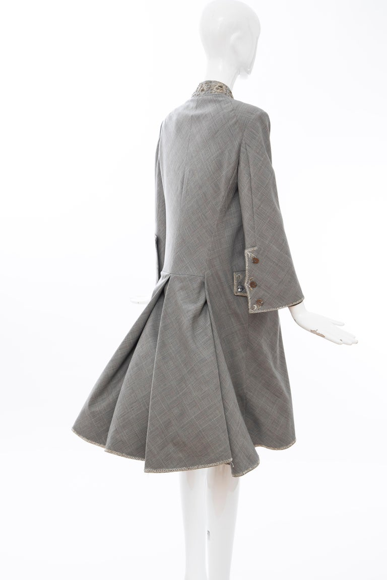 Alexander McQueen Wessex Glen Plaid Bullion Wire Embroidered Coat, Spring 2002 For Sale 4