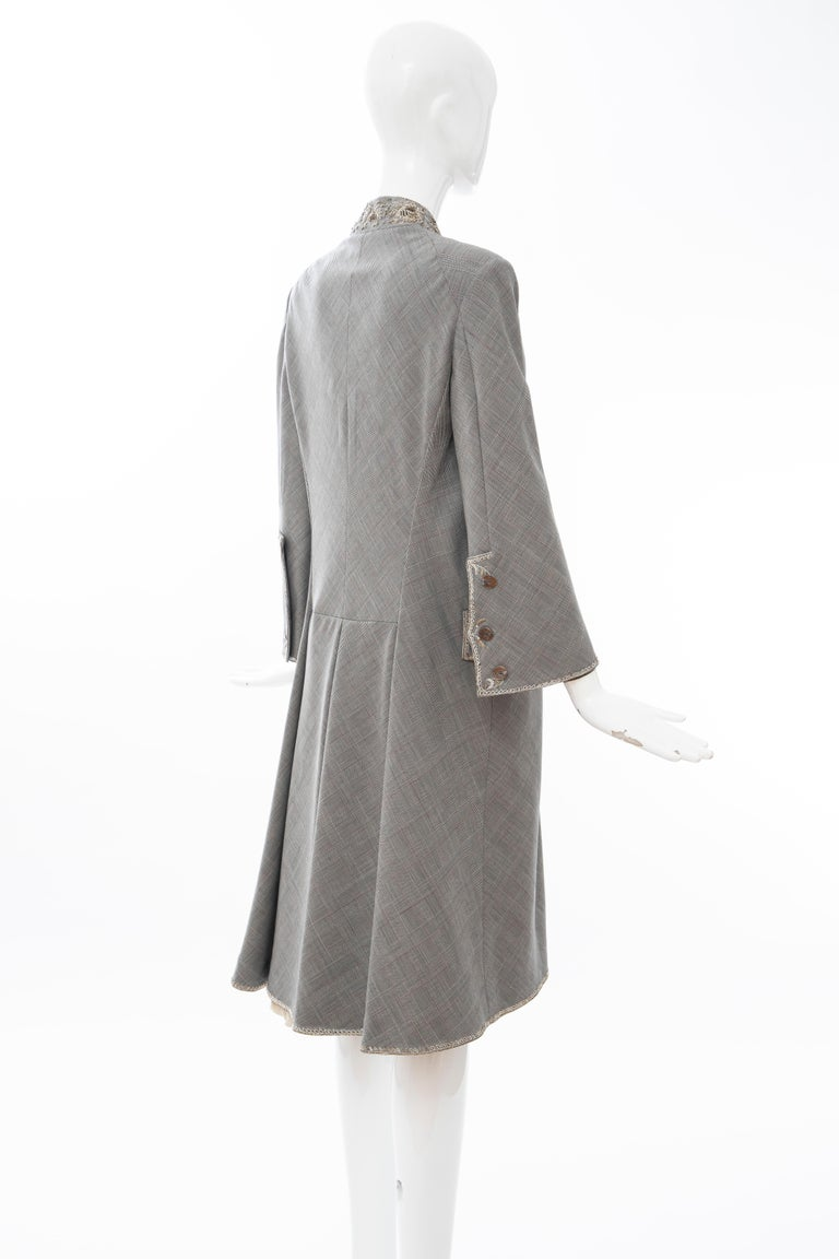 Alexander McQueen Wessex Glen Plaid Bullion Wire Embroidered Coat, Spring 2002 For Sale 5
