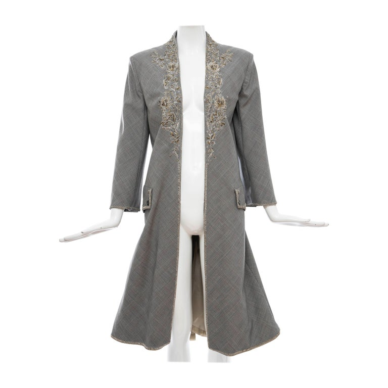 Alexander McQueen Wessex Glen Plaid Bullion Wire Embroidered Coat, Spring 2002 For Sale