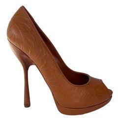 Alexander McQueen Western Leather Bandolero Brandy Sandal Heel (40 EU)