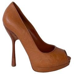 Alexander McQueen Western Leather Bandolero Brandy Sandal Heel Stiletto (37.5)