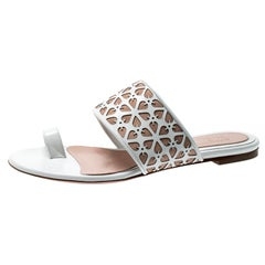 Alexander McQueen Laser Cut Leather & Suede Toe Ring Flat Sandals Size 38