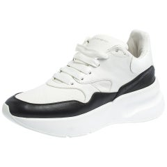 Alexander McQueen White/Black Leather And Mesh Oversized Runner Low Size 38.5