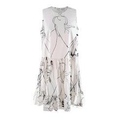 Alexander McQueen White Cotton Sketch Print Babydoll Dress - US 4