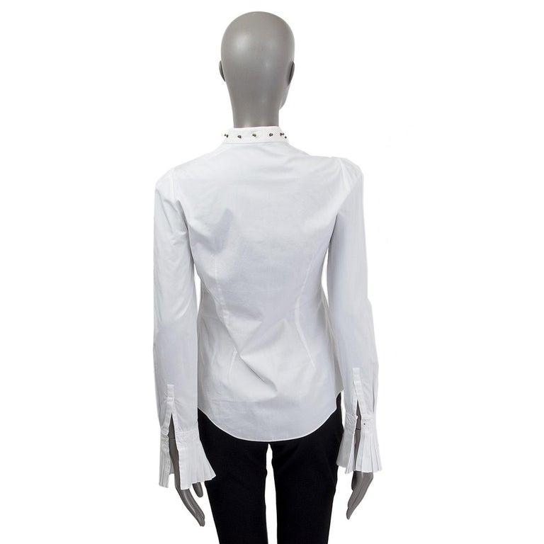 Gray Alexander McQueen white cotton STUD COLLAR TUXEDO Shirt 40 S For Sale