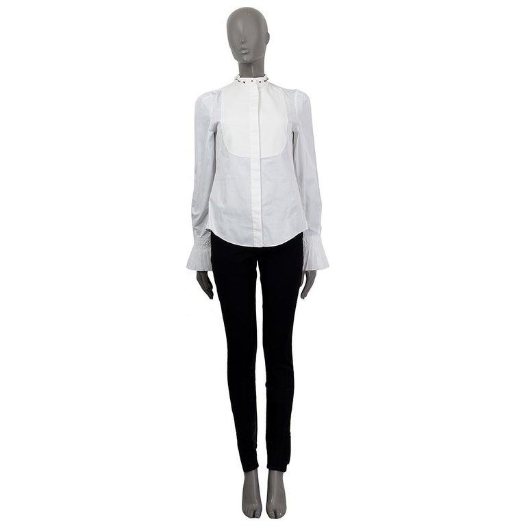 Alexander McQueen white cotton STUD COLLAR TUXEDO Shirt 40 S In Excellent Condition For Sale In Zürich, CH