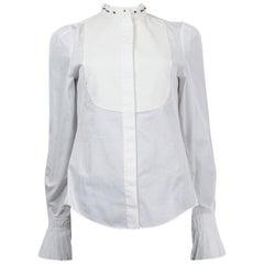 Alexander McQueen white cotton STUD COLLAR TUXEDO Shirt 40 S
