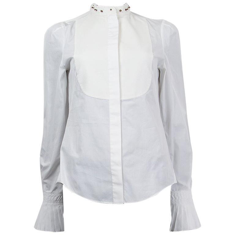 Alexander McQueen white cotton STUD COLLAR TUXEDO Shirt 40 S For Sale
