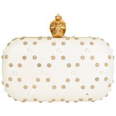 ALEXANDER MCQUEEN white gold PUNK SKULL PEARL Box Clutch Bag