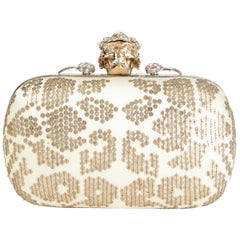 ALEXANDER MCQUEEN white gold SEQUIN CORWN SKULL Box Clutch Bag